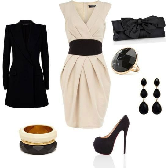 Vestido blanco con lazo negro outfit formal juvenil for Outfit ideas for dinner party