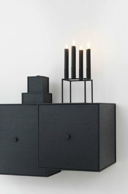 Black Kubus candleholder with black candles.