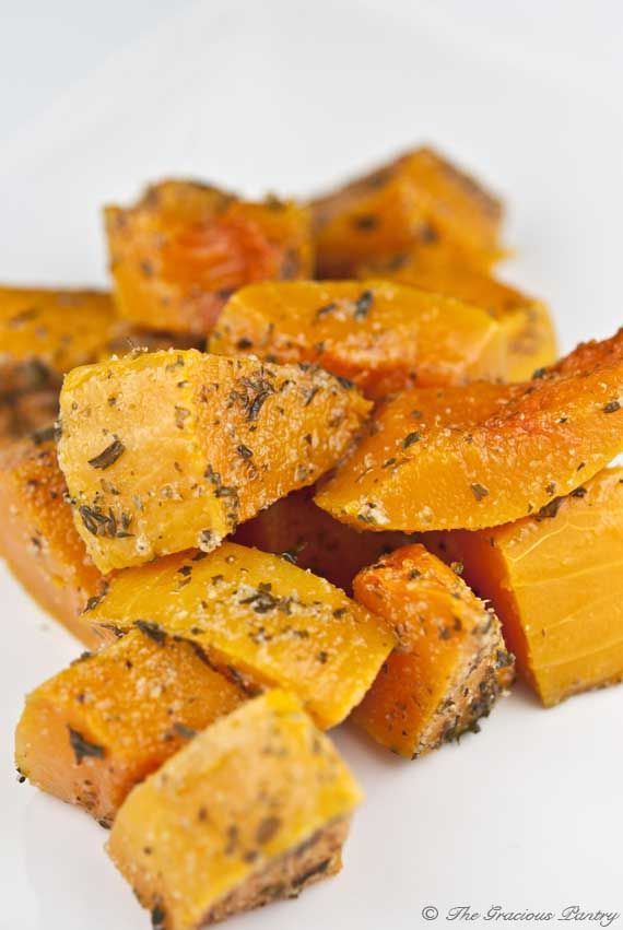 Clean Eating Herb Baked Butternut Squash. SO INCREDIBLY DELICIOUS AND SIMPLE! My husband HATES veggies and he loved these so much he asked for a second helping!