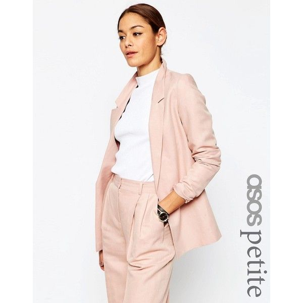 ASOS PETITE Premium Linen-Mix Clean Suit Blazer (51 NZD) ❤ liked on Polyvore featuring outerwear, jackets, blazers, petite, pink, petite blazer, petite jackets, blazer jacket, pink blazer jacket and open front jacket