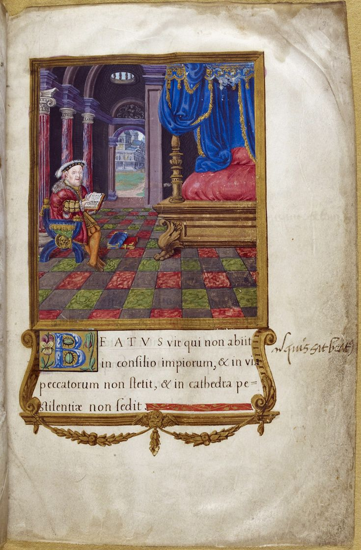 Henry VIII a King David, from the Henry VIII psalter, c 1540