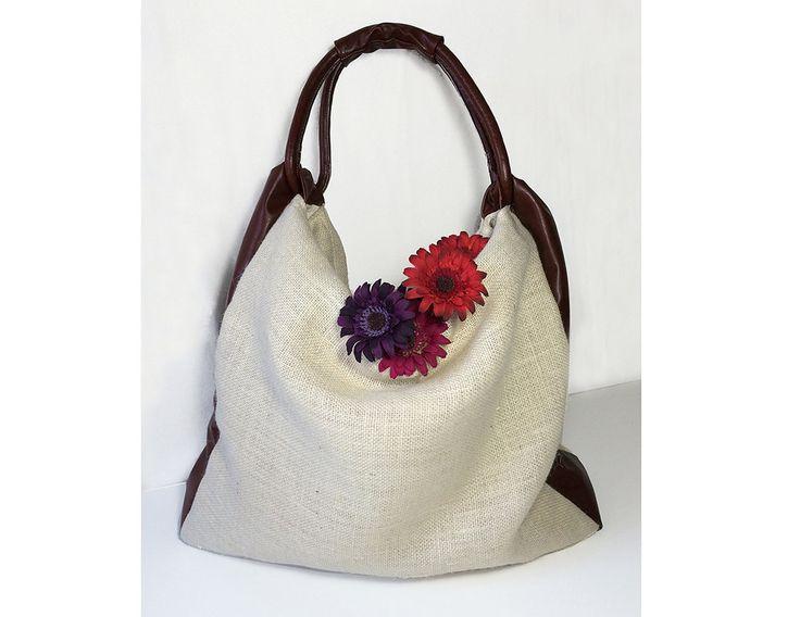 borsa pelle e juta per donna, borse fatte a mano made in italy, borsa a mano con manico dal design originale, regali per lei BBagdesign di BBagdesign su Etsy