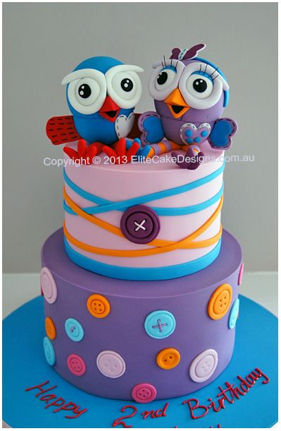 Orange, Turquoise & Purple Hoot and Hootabelle Owls Buttons and Stripes Cake