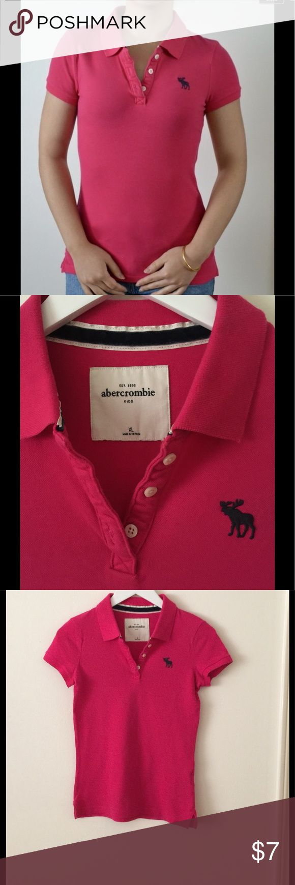 Abercrombie Girls bright pink polo, very good cond Abercrombie Girls  bright pink polo, size XL,  very good condition Abercombie Kids Shirts & Tops Polos