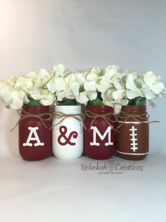 Texas A&M Mason Jars Aggie Decor Texas Decor by RebekahCreations                                                                                                                                                      More