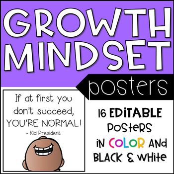 The CUTEST editable posters that will encourage a growth mindset in your students!Included:60 pages of growth mindset messages for your studentsColor and black and white messages includedPages are editable so you can add your own personalized messages to give students the confidence and encouragement they need.Print the posters as they are, create your own messages for students or use the black and white posters as coloring pages.