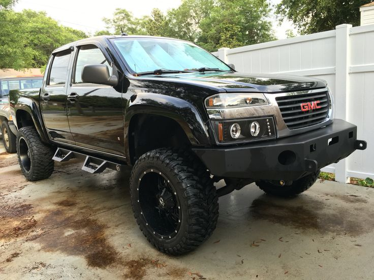 Lifted 2008 GMC Canyon / Chevy Colorado on 33 inch tires and 20 inch rims ..... 33x12.50R20 and tactical armor group steel bumpers with ici RT magnum steps and much more... 2 inch zone offroad suspension lift kit 3 inch performance accessories body lift kit for a total of a 5 inch lift.