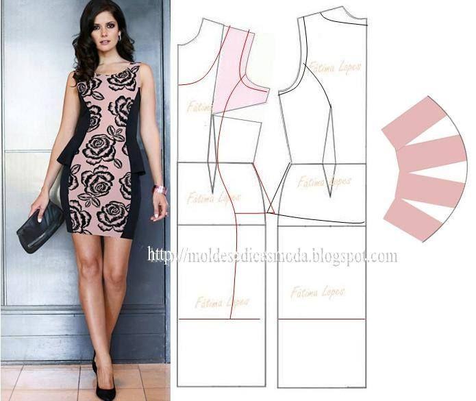 Modelagem de vestido com recorte na pence e peplum na lateral. Fonte: https://www.facebook.com/photo.php?fbid=715143498514591set=a.262773027084976.75978.143734568988823type=1theater