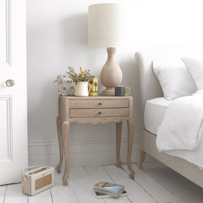 OLIVIA BEDSIDE TABLE Our Olivia had her eyes on this solid oak bedside table the moment it came through the door. We love the way the top has no lip or overhang which gives it a slightly deco feel. Goes brilliantly with all our Frenchy stuff.