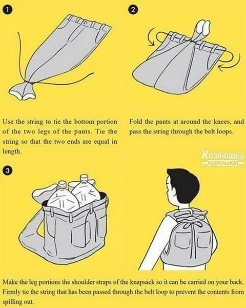 "Polubienia: 1,294, komentarze: 22 – Tips for SHTF (@offthegridguide) na Instagramie: ""Improvise a backpack. How could that come in handy? List some examples.  Check @superessestraps…"""