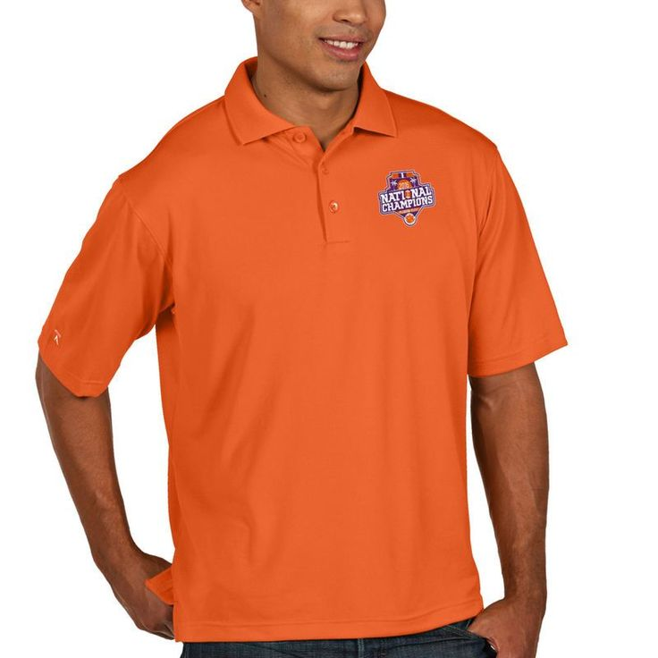 Clemson Tigers Antigua College Football Playoff 2016 National Champions Collegiate Pique Xtra Lite Polo - Orange