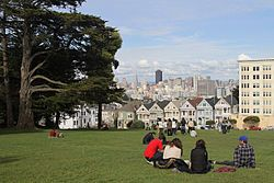 Picnic with a view of the Painted Ladies (the Full House homes) in Alamo Square. (Alamo Square).