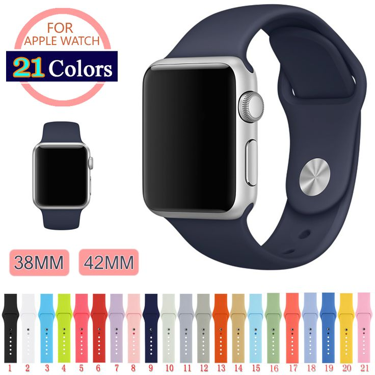 S M L Silicone Colorful Band With Connector Adapter For Apple Watch Strap IWatch Series 1 2 Sports Bracelet