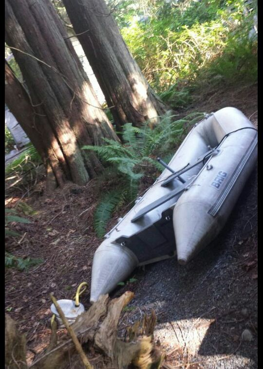 Used (normal wear) - Up for sale at $800   a little over 8ft. One patch but holds air no problem.  3 rib  hard foor Both oars Inflatter pump  Bail out pump All included  I may intertain trades for CJ7 Jeep hard top, soft doors, or other Jeep parts.