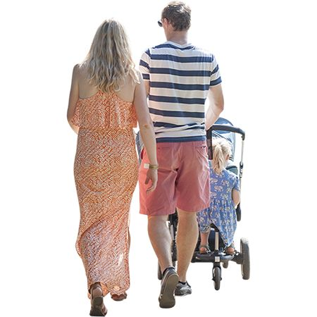 This family has got it all: brightly colored summer clothing, a stroller capable of carrying a daughter on the back wheels, a super intelligent baby, and a lottery ticket matching three out of five…