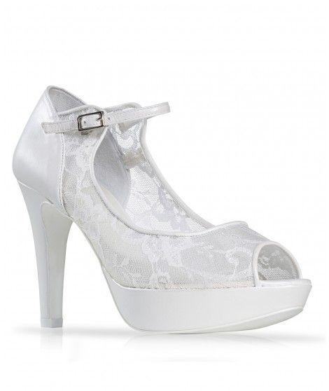 Zapato de novia tipo de encaje con pulsera al tobillo