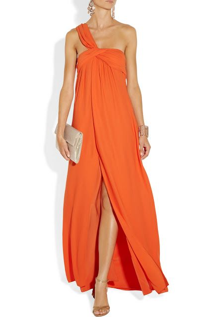 orange one shoulder evening gown