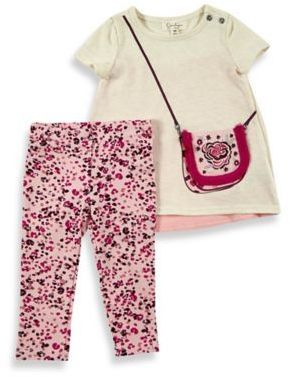 Jessica Simpson Size 12M 2-Piece Screenprint Purse Top and Print Pant Set in Cream