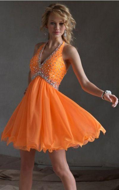 Sleeveless Halter Zipper Chiffon Short Party Dresses zyh123
