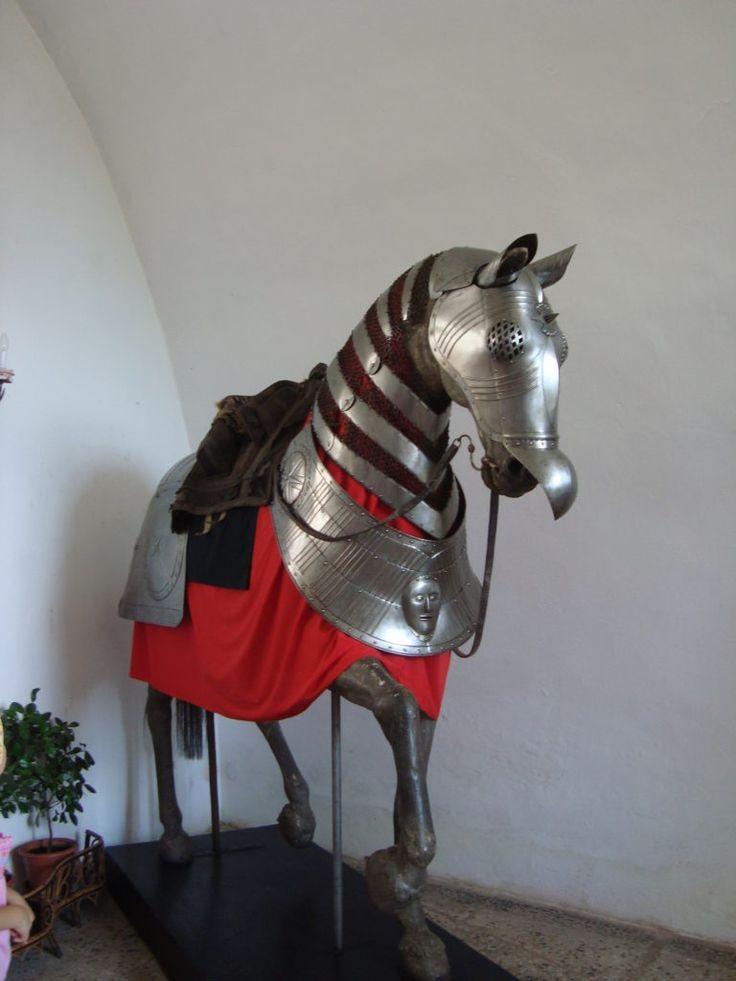Metal horse inside Bitov Castle
