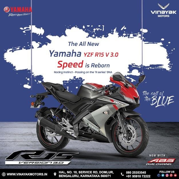 The All New Yamaha Yzf R15 V 3 0 Speed Is Reborn Now With Abs Dual