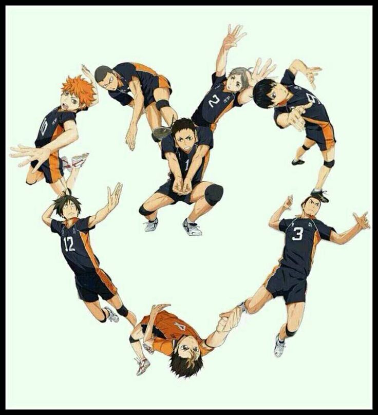Tke Karasuno boys forming a heart. I'm not surprised at all that Tsukishima isn't in there as well :D