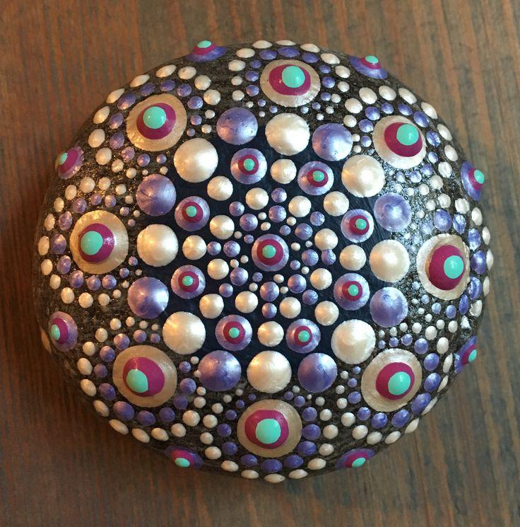 Mandala stone. Painted rock. Dot Art.