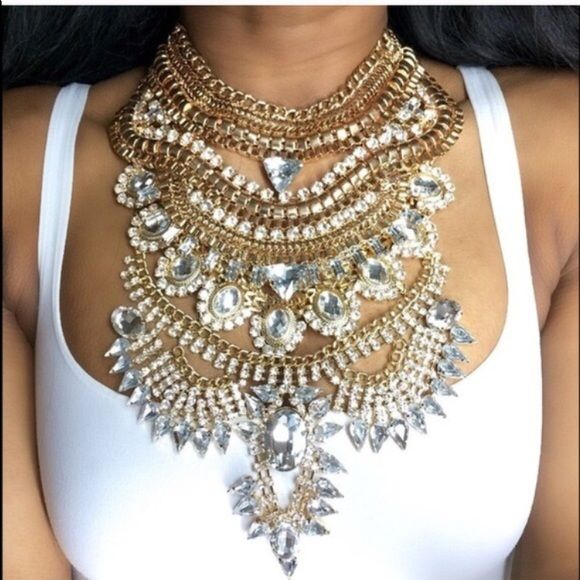"""LAST ONE LEFT! Austrian Crystal Necklace Gold!! Selling #BRANDNEW RARE Austrian Crystal Statement Necklace for ONLY $30!! Rare and unique masterpiece with intricately detailed Austrian Crystals LAST ONE LEFT in GOLD & SILVER!! Get this necklace for only $25 with FREE SHIPPING from my website www.trumpetjewels.com. Search """"Game of Thrones"""" and use promo code FREESHIP at checkout! Follow me on Instagram @trumpetjewels1 and my website with over 400 new items www.trumpetjewels.com NOT from Zara…"""