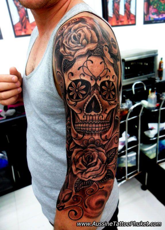 Full Back Mexican Skull Tattoo For Men photo - 2