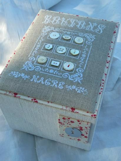 make a pin cushion on top of a decorated box to store sewing items in