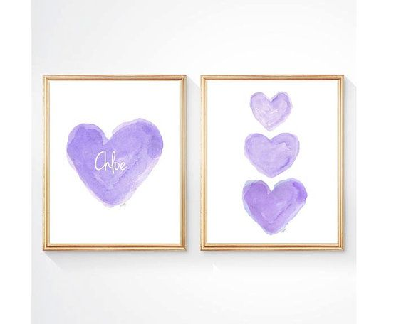 Purple Nursery Set of 2  8x10 Watercolor by OutsideInArtStudio