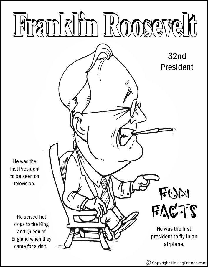 Franklin Roosevelt Coloring Page