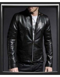 Black Stripes Mens Leather Jacket available on www.styloleather.com  attractive look #Mensfashion #Menstyle #leatherjacket