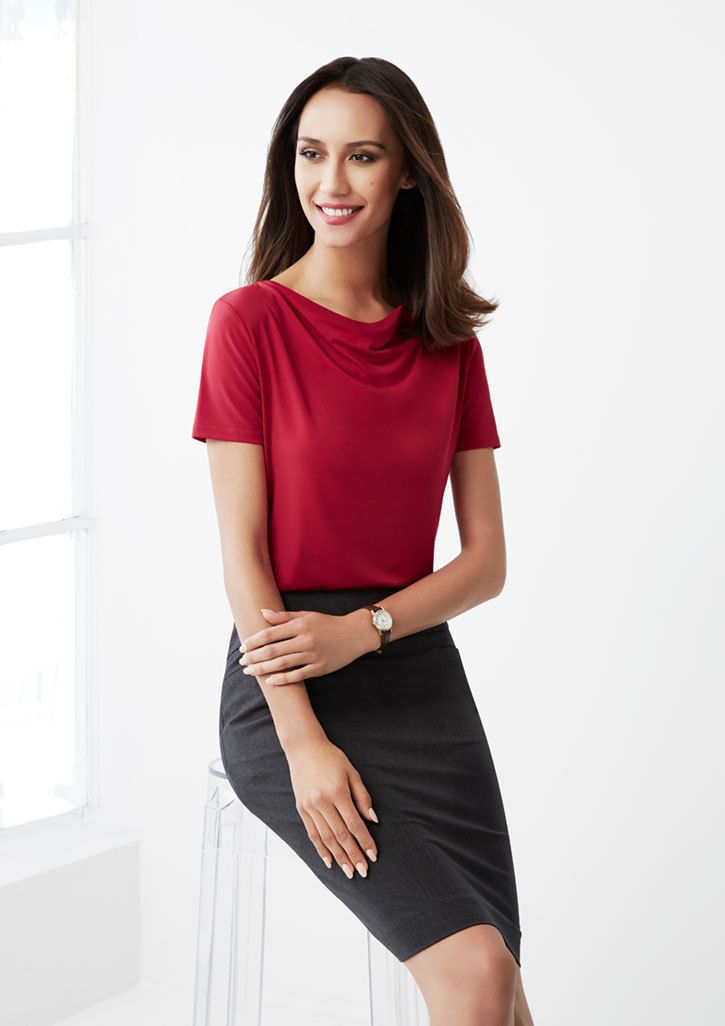 """Ava Drape Neck Top"" is presented by Biz Collection. This top has luxurious jersey knit & softly draped neckline. Simply Uniforms is offering high-quality uniforms and dresses for men, women and kids."