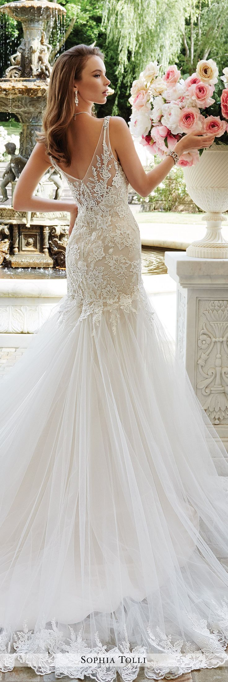 Sophia Tolli - Y21665 Rome - Two-piece satin and tulle wedding dress set, sleeveless soft satin sheath under a sleeveless soft tulle fit and flare gown with encrusted shoulder straps, deep V-neckline, scattered sequin rich lace appliqué bodice with dropped waist, beaded illusion V-back finished with zipper trimmed with diamante buttons, finely gathered tulle skirt with scalloped lace hem and chapel train. Sizes: 0 - 28 Colors: Ivory/Champagne, Ivory, White
