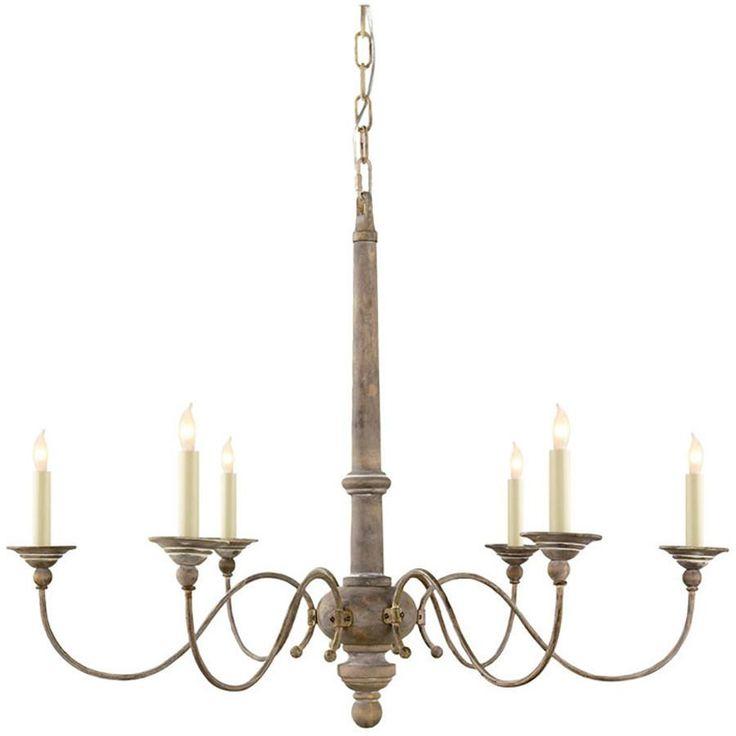 Studio Country, Chandelier, Belgian White, 6 lights, Candelabra C, Traditional, Visual Comfort Lighting