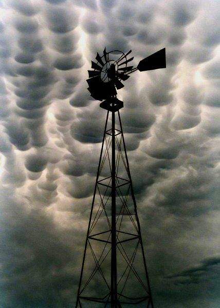 Iowa ~ If the weather vane doesn't warn that there's a storm a brewing' then the mammatus clouds certainly do – and it sure as heck hailed shortly after this beautifully composed shot was taken somewhere in Iowa.
