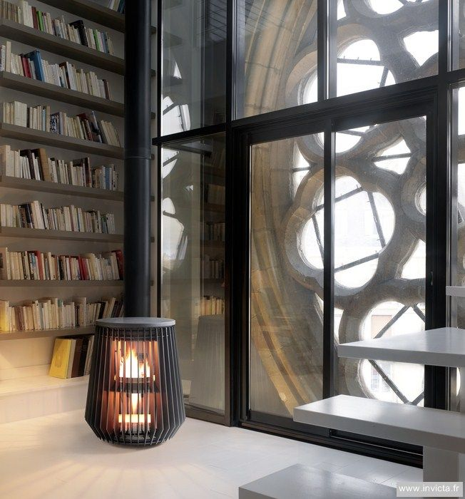 ♂ Modern interior design with free stand fireplace - ilot cast-iron stove - design : A. Lapierre