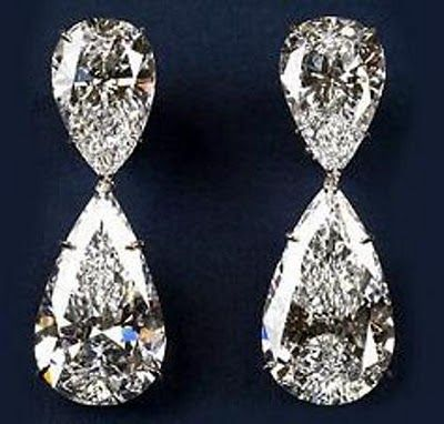 Harry Winston's Extraordinary Diamond Drop Earrings are the world's most expensive earrings ever created by the House of Winston in 2006, this pair of pear-shaped, diamond earrings weighs in at 60.1 carats altogether.    Read more http://most-expensive.nipunscorp.com/2012/03/29/most-expensive-earrings-ever-made-diamond-drop-earrings/