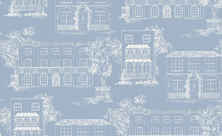 Hampstead James Blue (0271HAJAMES) - Little Greene Wallpapers - From an original 1949 handprint, of an urban Hampstead scene, with sweetly drawn houses in a restrained park setting.  Shown in the white on fresh blue. Available in other colours. Please request sample for true colour match.