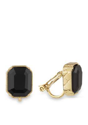 Laundry By Shelli Segal Women Gold-Tone Emerald Cut Stud Clip Earrings - Black/Gold - One Size