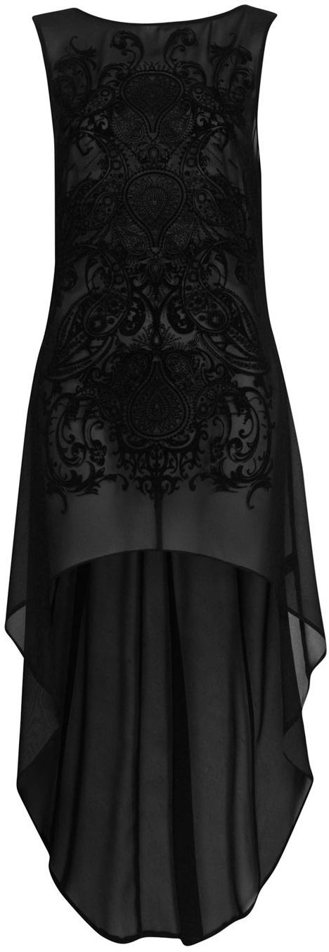 Sheer black mullet dress with velvet details. Original pin lead to spam and google image search can't find this designer. Way to go, Internet.