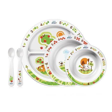 Philips Avent Набор посуды для малыша  — 2277р. ---------------- Набор посуды Philips AVENTSCF716/00 состоит из 5 предметов. В разработке дизайна тарелок приняли участие известный детский психолог Джиллиан Харрис, сотрудник Бирмингемской детской больницы, и диетолог Джуди Мор.   Помимо картинок с милым зайкой, который будет вызывать у ребенка интерес к приему пищи, на тарелочках также нарисованы цифры. А рядом с каждой цифрой нарисовано соответствующее ей количество предметов (яблок или…
