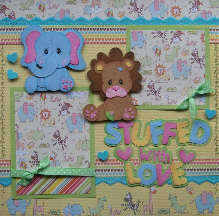 Stuffed with Love Baby Boy Girl 2 Premade Scrapbook Pages Paper Piecing   eBay