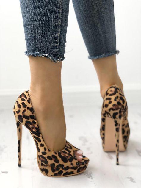 3aeeffee671 Leopard Print Peep-toe Thin High-heeled Pumps