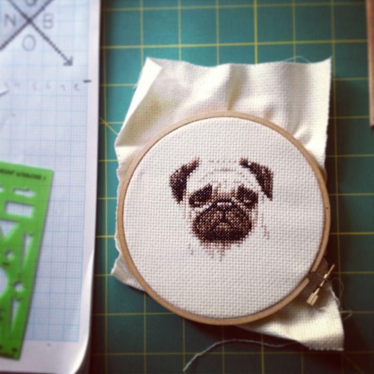 Pug cross-stitch // by Joanna Flamia | f-ARTS & CRAFTS ...