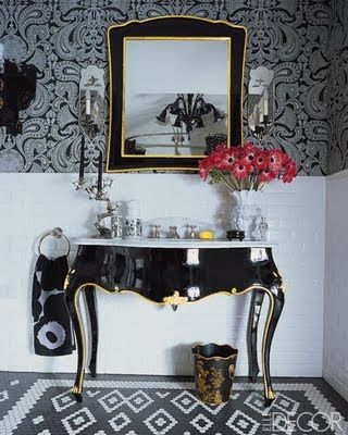 love the black lacquer french console as a sink cabinet - beautiful!