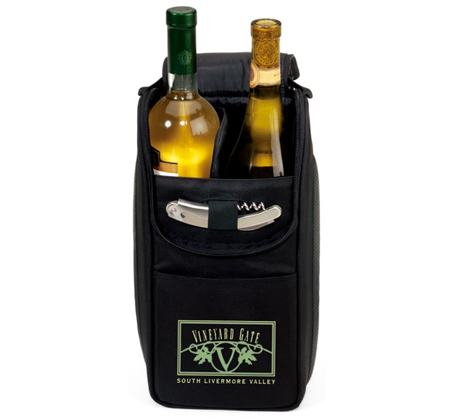 Everything but the wine!  Insulated cooler features two bottle capacity with padded divider.  Elastic loop secures the multi-purpose, stainless steel corkscrew (included). Dual branding opportunities.  Padded handle grip and non-slip base.