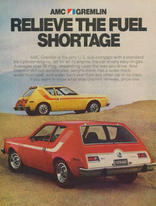 "An original 1974 advertisement for AMC Gremlin. Featuring these cars in yellow and red. Photo ad print detailing gas saving and wider track. ""Relieve the Fuel Shortage"" -An original 1974 AMC Gremlin a"