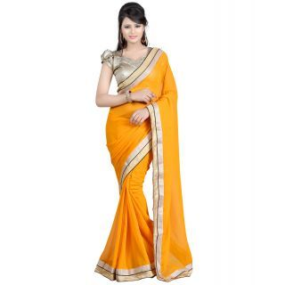 Bunny Sarees Splendid Orange Colour Chiffon Solid Saree